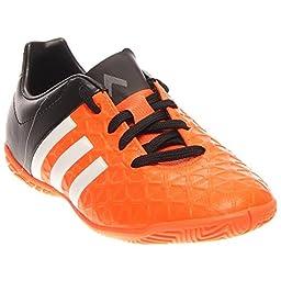adidas Performance Ace 15.4 Indoor Soccer Cleat (Little Kid/Big Kid), Solar Orange/White/Black, 5.5 M US Big Kid