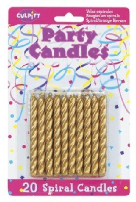 20 Pkg ~ Culpitt Gold Spiral ~ Cake Decorating Candles - 1