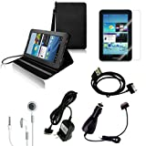 CrazyOnDigital Black Stand Leather Case with Charger and Screen Protector For Samsung Galaxy Tab 2 7.0 (6-item)