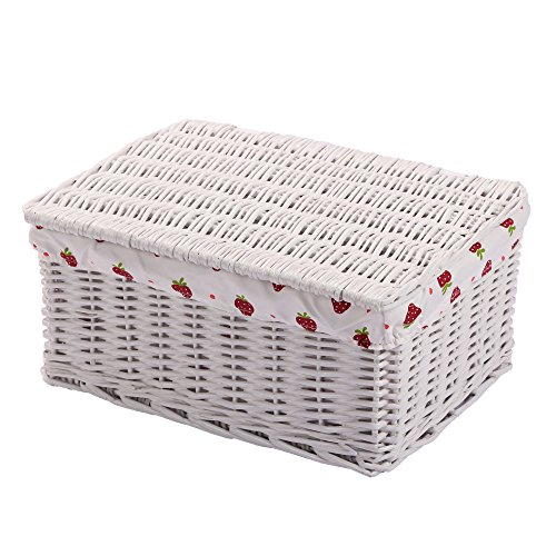 Kingwillow,Woven Wicker Storage baskets with lid,Rectangular Bins with Linner Container Organizer Box (Large, White) (Wicker Basket With Lid And Handle compare prices)
