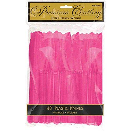 Bright Pink Premium Plastic Knives (48 ct)