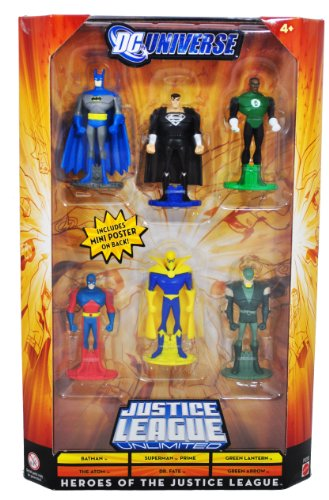 Buy Low Price Mattel DC Universe Year 2008 Justice League Unlimited 6 Pack 3 Inch Tall Figure – HEROES OF THE JUSTICE LEAGUE – Batman, Superman Prime, Green Lantern, The Atom, Dr. Fate and Green Arrow (P9288) (B004DBT2H4)