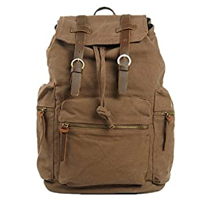 Jam_closet Mens Canvas Leather College Children School Bookbag Laptop Rucksack Backpack