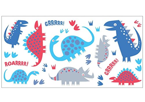 Lunarland DINOSAURS BLUE Wall Decals Red Grey T-Rex Room Decor Stickers Dino Triceratops