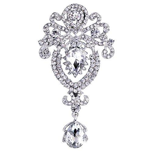 Contever® Upscale Gioielli di Spille Pin Tono D'argento Strass Cristallo Moda Corona Stile Spilla Perno Goccia d'acqua Pendente