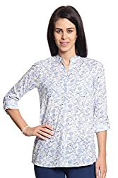 Women Blue Printed Top with 2 Pockets