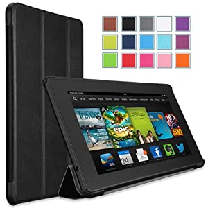 MoKo Amazon All New Kindle Fire HD 7 Case - Ultra Slim Lightweight Smart-shell Stand Cover Case for All New Fire HD 7.0 Inch 2013 Gen Tablet, BLACK (With Smart Cover Auto Wake / Sleep. WILL NOT Fit 2012 Fire HD 7 / 2013 Fire HDX 7 or HD 7 2014 Gen)