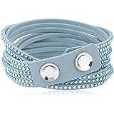 Swarovski Damen-Armband Metalllegierung Leder Glas weiß 504639