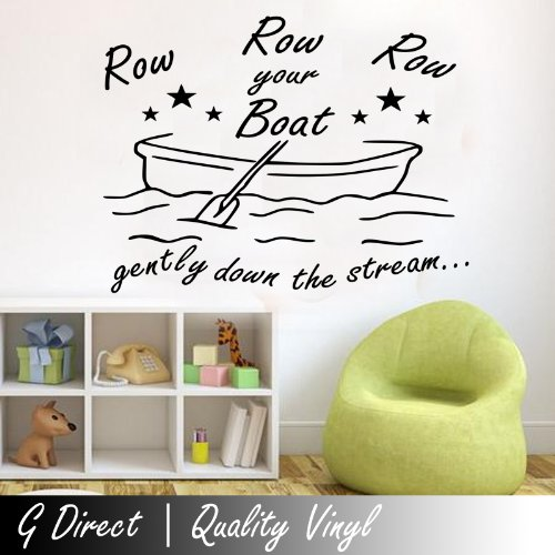 Row Row Row Your Boat Wall Sticker Nursery Vinyl Decal Kids Childrens Rhyme Art 100X55 front-1047166