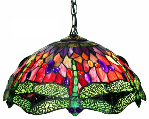 Tiffany Style Dragonfly Red Hanging Lamp