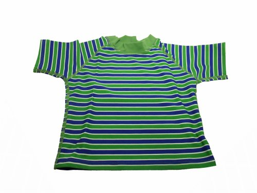 I Play Rashguard Water Wear Baby/Toddler Upf 50 + Short Sleeve, Unisex (Ex-Large, Blue & Green)