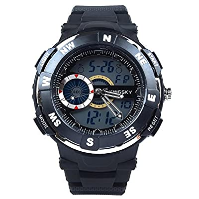 Hiwatch LED Military Double Time Stopwatch Date Week 30m Water-resistant Digital dial Sports Watch With Gift Box Black-2 Years Warranty