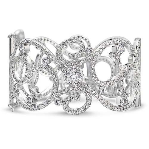 Bling Jewelry Vintage Style CZ Swirl Flower Bridal Bangle Bracelet Silver Tone