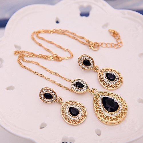 deschmuck vintage ensemble boucles d oreille goutte collier de luxe pour femmes d anniversaire. Black Bedroom Furniture Sets. Home Design Ideas