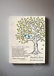 MuralMax - Personalized Family Tree & Lovebirds, Stretched Canvas Wall Art, Make Your Wedding & Anniversary Gifts Memorable, Unique Decor, Color Beige # 2, Size 11 x 14 - 30-DAY