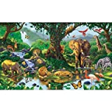 (99x164) Nature's Harmony Jungle Animals Huge Wall Mural Art Print Poster
