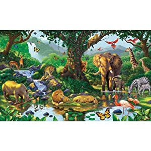 99x164 nature 39 s harmony jungle animals huge wall mural for Classic jungle house for small animals
