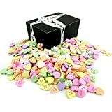 NECCO Large Classic Sweethearts Conversation Hearts, 3 lb Bag in a BlackTie Box