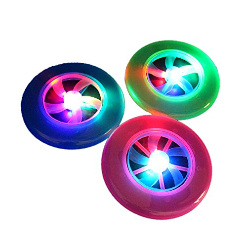 IREALIST Flashflight LED Flying Disc, Glow in the Dark for Night Games, set of 3