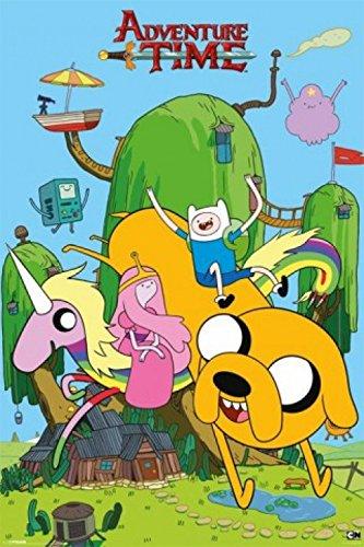 """1art1 62835 - Poster """"Adventure Time, Finn, Jake e i loro amici"""", 91 x 61 cm"""