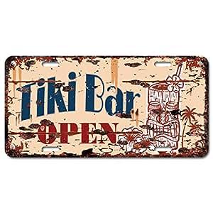 Tiki bar open auto car license plate sign chic for Bar decor amazon