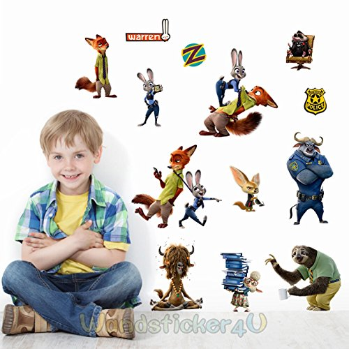 wandsticker4u-zoomania-zootopia-14-stickers-figuren-judy-nick-duke-bogo-flash-usw-entfernbare-wandta