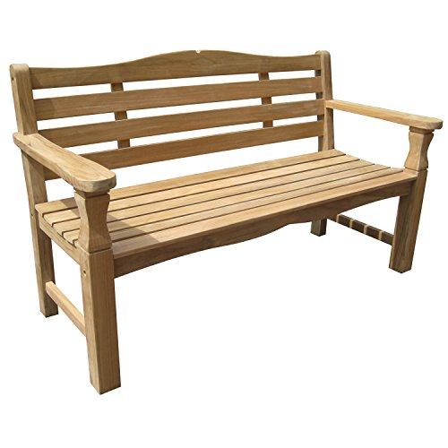 Bellagio Condover 3 Seater Hardwood Bench - Wooden Bench - Natural Finish - W 150cm x D 65cm x H 87cm