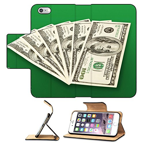 Luxlady Premium Apple iPhone 6 Plus iPhone 6S Plus Flip Pu Leather Wallet Case money concept several dollars banknotes over green IMAGE 36370297