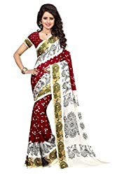 Shop Integrity Navratri Spacial White And Red Traditional Saree