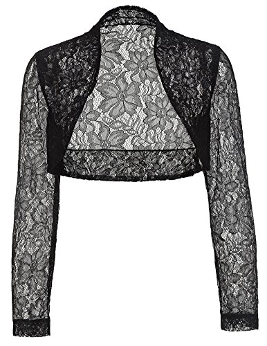 Black Lace Shrug Bolero, Cropped Jacket Short Cardigan JS49-1