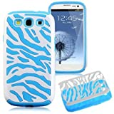 MagicSky Plastic Silicone Hybrid White Zebra Pattern Case for Samsung Galaxy III S3 i9300 - 1 Pack - Retail Packaging - Blue