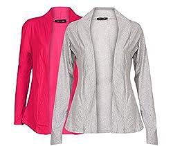 Ten on Ten Women's Pair of Grey/ Pink Long Shrug