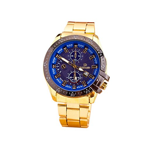 TODDCAHALAN Luxury Men Stainless Steel Gold Date Clock Analog Quartz Wrist Watch Blue (Steel And Jelly Men compare prices)