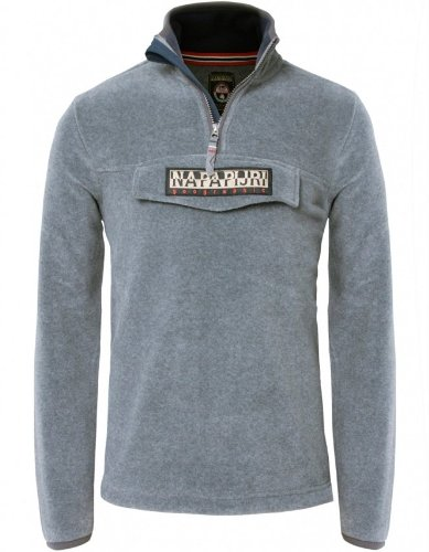 Napapijri Men's Sweater Grey Cyclone Half Zip Sweatshirt L