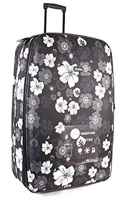 TC-FP-04-01 BLACK GREY FLOWER SET OF 2 Large Luggage - Funky Lightweight Travel Lite Suitcase