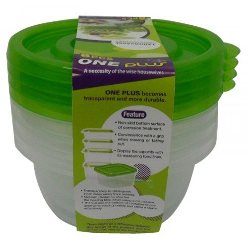Food Preservation Box One Plus Green Colour Size 190 Ml. Pack 4
