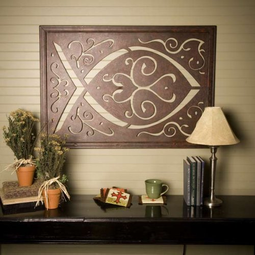 Home Decor Wall Tapestry : Metal wall hanging large ichthys ichthus