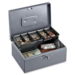 Sparco Cash Box, 5 Compartments, 11-3/8 x 7-1/2 x 3-3/8 Inches, Gray(SPR15507)