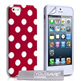 Yousave Accessories Silicone Gel Polka Dot Case for iPhone 5/5S - Redby Yousave Accessories