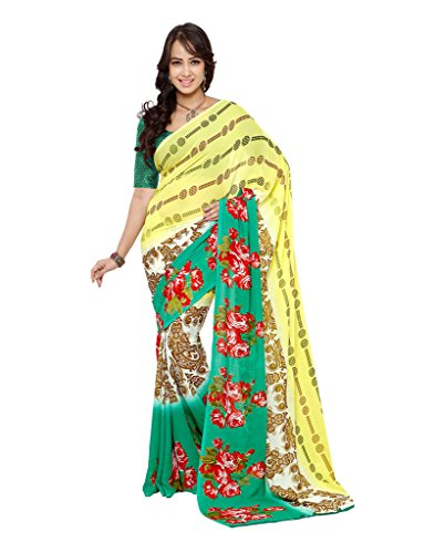 Fabdeal Ethnic Printed Green and Yellow Georgette Saree  available at amazon for Rs.499