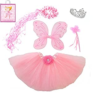 5 Piece Sparkle Fairy Princess Costume Set PLUS GIFT BAG (Pink)