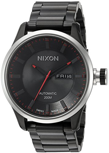 Nixon-Mens-II-Swiss-and-Stainless-Steel-Plated-Automatic-Watch-ColorBlack-Model-A209760-00