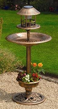 Greenhurst Bird Bath with Solar Light, Bird Feeder and Built in Planter in Antique Bronze Finish
