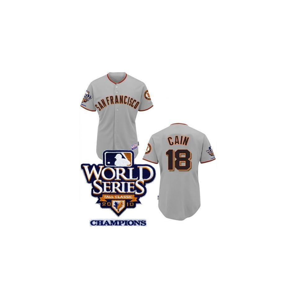 World Series Champions San Francisco Giants Baseball Jersey #18 Cain Gray Jerseys Size 50