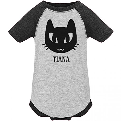 [Baby Tiana Black Cat Halloween Costume: Infant LAT Vintage Raglan Bodysuit] (Tiana Costume For Infant)