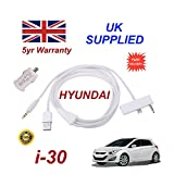 Hyundai i30 iphone 5 5c 5s connectivity audio 3.5mm Aux & USB Cable with USB Power Adapter