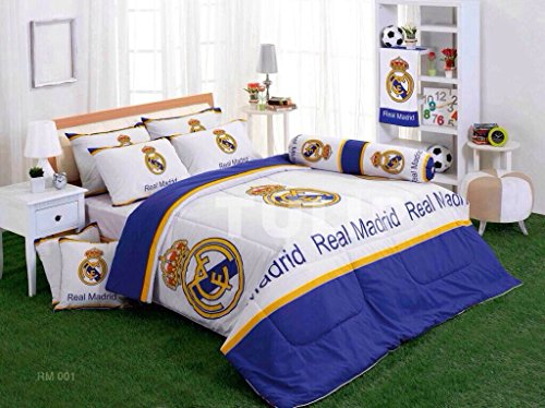 Real Madrid Club Football Bed Fitted Sheet Set : King & Queen Size (Queen, Rm001) front-508323