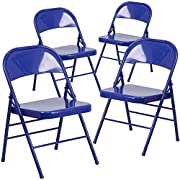 Flash Furniture 4 Pk. HERCULES COLORBURST Series Cobalt Blue Triple Braced & Double Hinged Metal Folding Chair