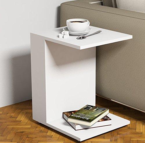 JOUR Tavolino basso da salotto con ruote - Bianco - materiale in legno - Tavolino da divano - Tavolino da Caffè moderno in un design alla moda con mensola