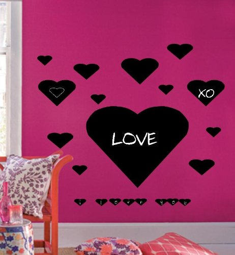 Chalkboard Heart Wall Decals 37 hearts